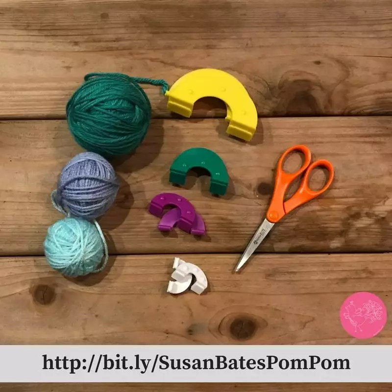 Making pom poms with the Susan Bates Pom Pom Maker