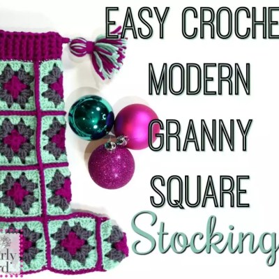 Free Pattern Easy Crochet Modern Granny Square Stocking