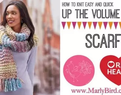 Knit Video Tutorial-Up the Volume Scarf with Collage Yarn