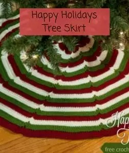 Free Crochet Christmas Tree Skirt Pattern-Happy Holidays Tree Skirt