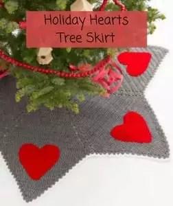 Free Crochet Christmas Tree Skirt Pattern-Holiday Hearts Tree Skirt