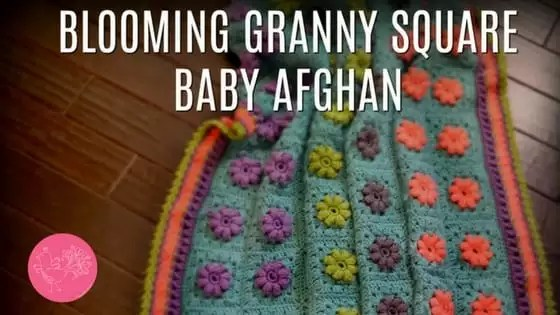 FREE Crochet Baby Blanket Pattern-Blooming Granny Square Baby Afghan