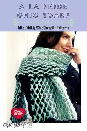 A La Mode Chic Scarf Crochet Scarf designed with Chic Sheep by Marly Bird