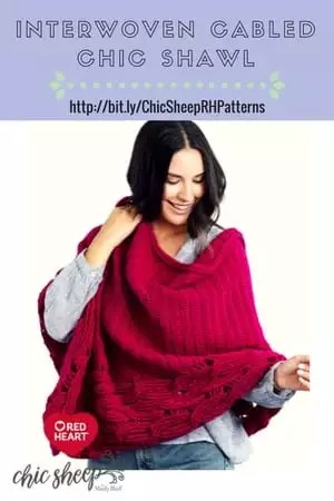 Interwoven Cabled Chic Shawl Crochet Shawl pattern using Chic Sheep by Marly Bird