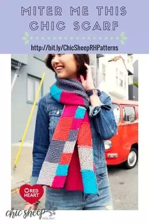 Miter Me This Chic Scarf Knit Scarf designed with Chic Sheep by Marly Bird