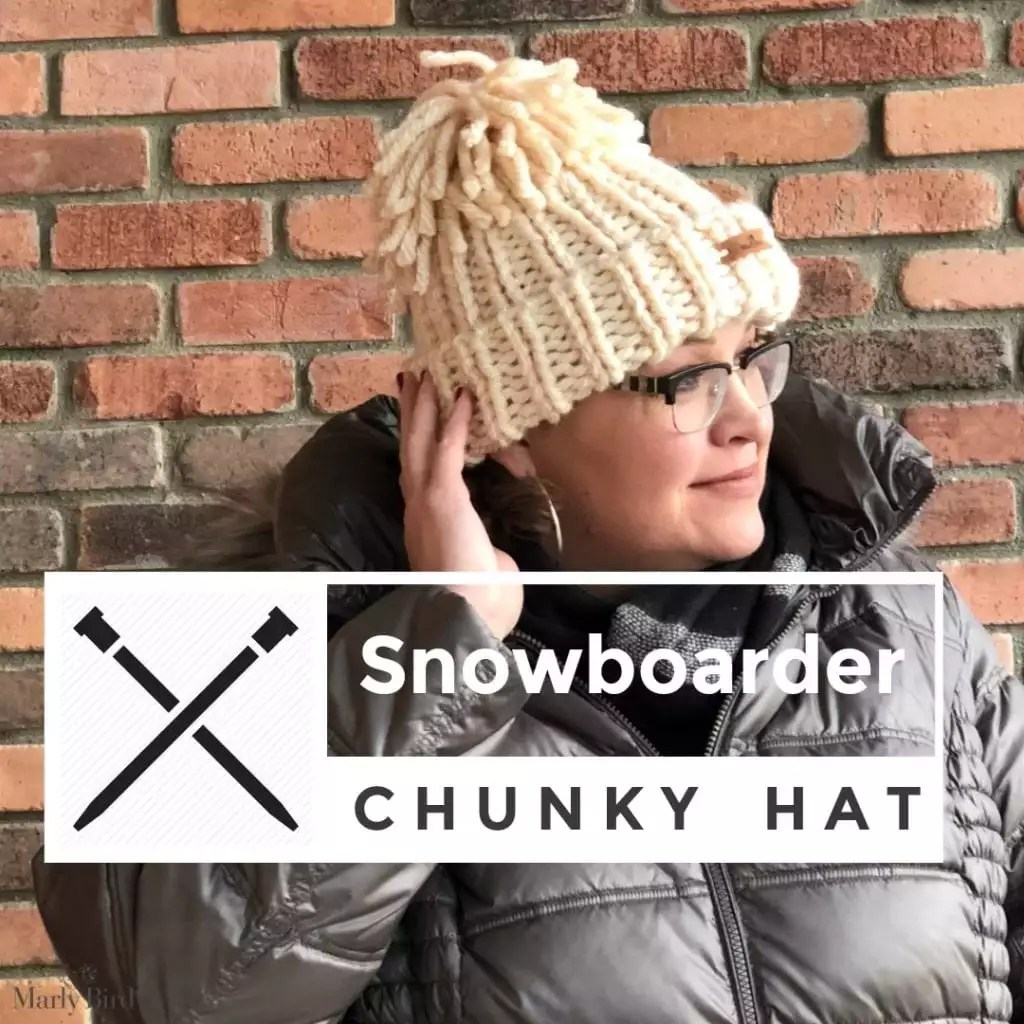 Snowboarder Chunky Hat-FREE Knit Hat pattern by Marly BIrd