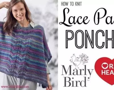Knit Video Tutorial-Knit Beginner Lace Panel Poncho