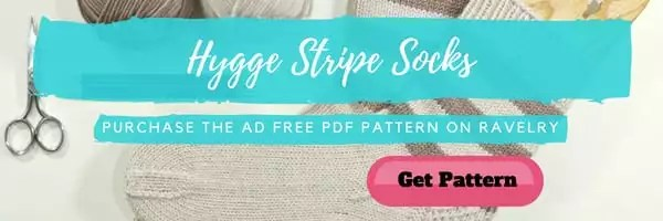 Ad Free PDF pattern for the Hygge Stripe Socks