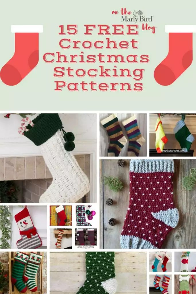 15 FREE Crochet Christmas Stockings on the Marly Bird Blog