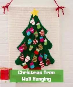 7 FREE Crochet Advent Calendars-Christmas Tree Wall Hanging