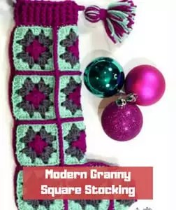 Modern Granny Square Stocking by Marly Bird