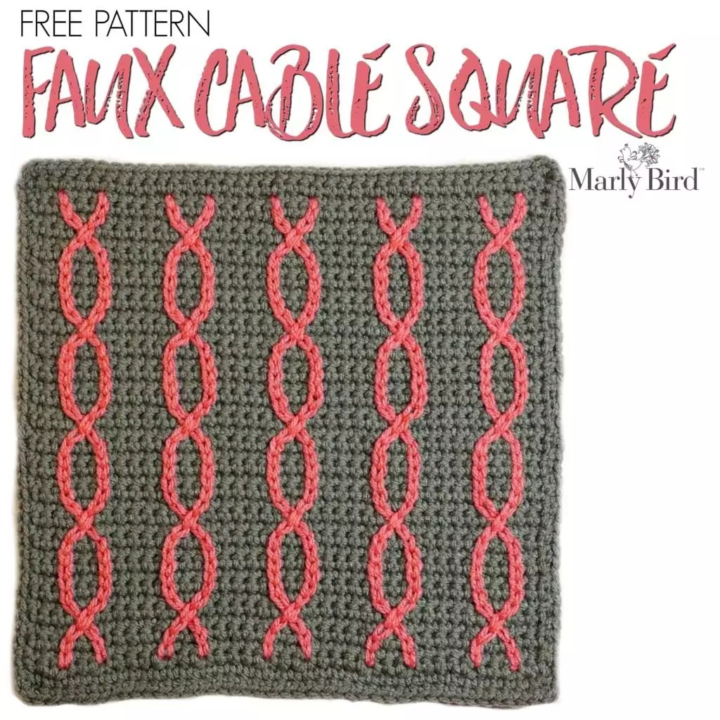 Free Crochet Pattern Faux Cable Square by Marly Bird