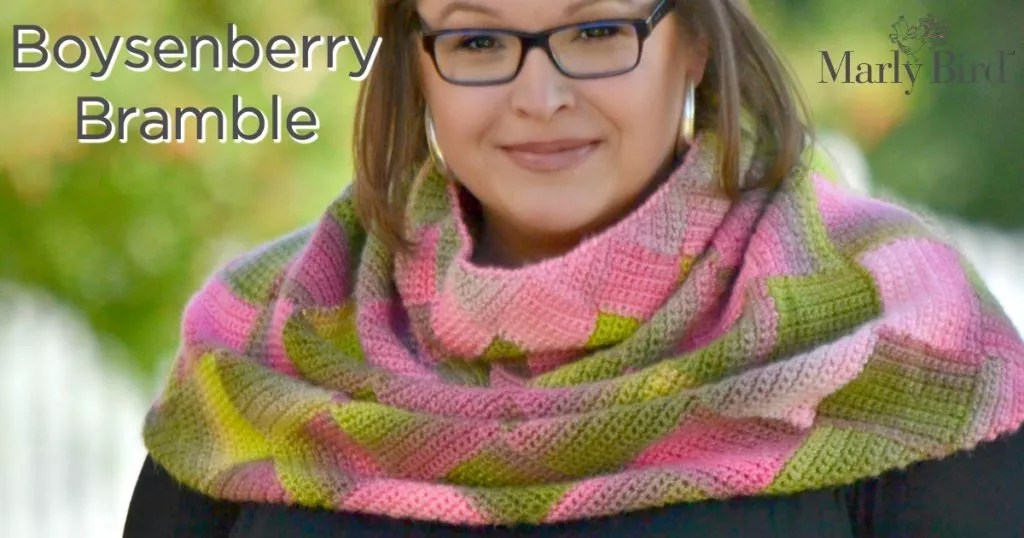 FREE Crochet Single Crochet Entrelac Cowl Designed by Marly Bird