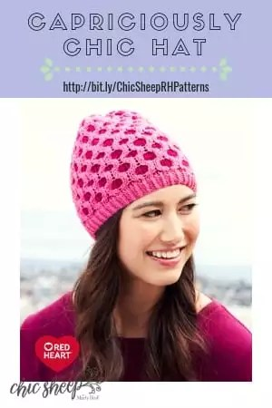 FREE Knit Pattern in Chic Sheep by Marly Bird on Red Heart's website-Capriciously Chic Hat