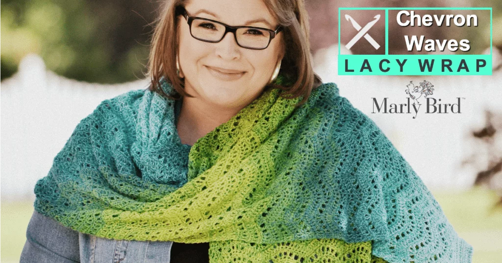 FREE Crochet Pattern-Chevron Waves Lacy Wrap by Marly Bird