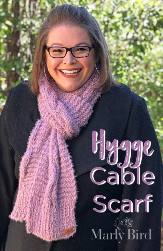 Free Knit Pattern Hygge Cable Scarf by Marly Bird
