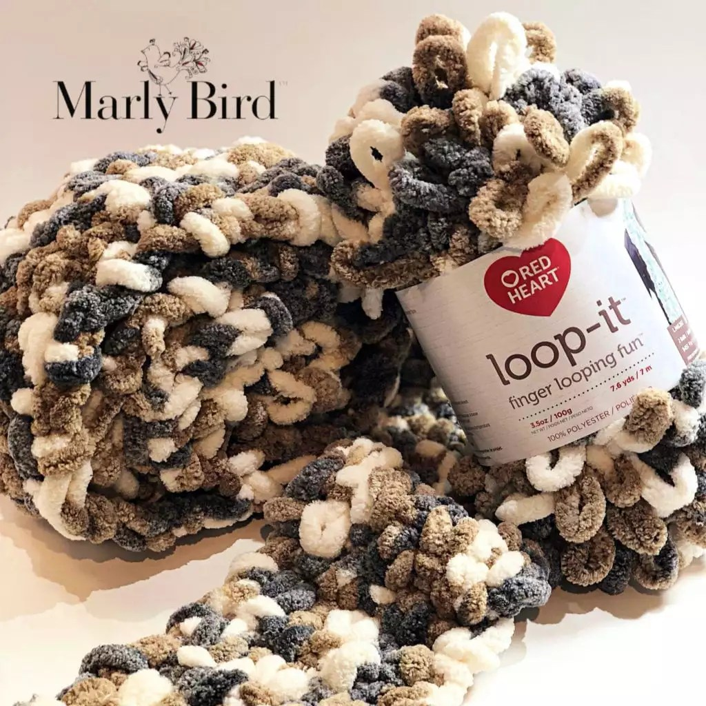 Loop-it™ Yarn By Red Heart Free Pattern by Marly Bird Loop-it Puffy Seed Stitch Scarf