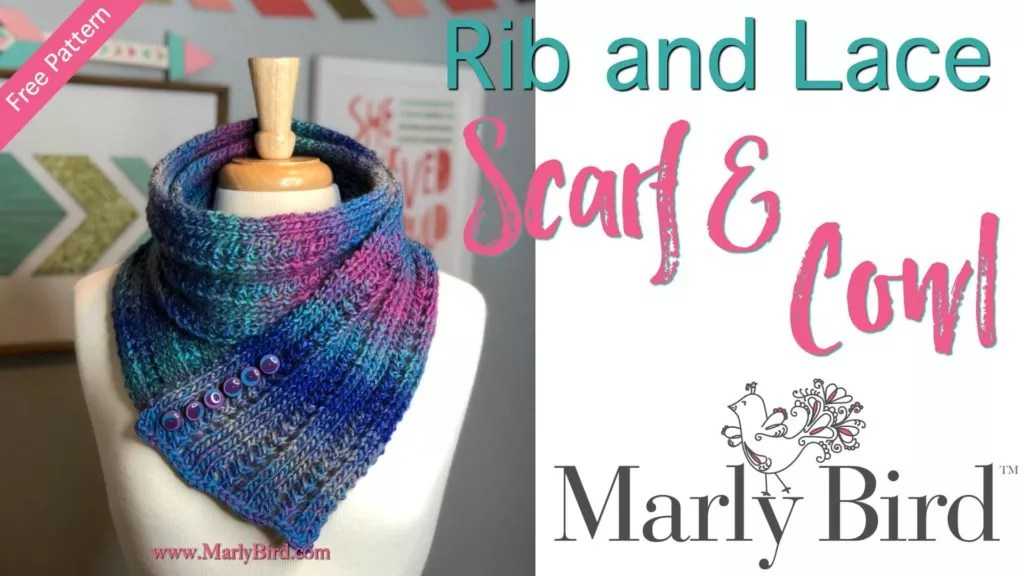 FREE Knit Pattern designed by Marly Bird-Rib and Lace Scarf Cowl-One ball Colorscape knit scarf