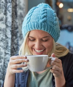 14 FREE Blue Hats Patterns-Cabled Pompom Hat