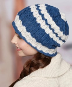14 FREE Blue Hats Patterns-Wavy Skull Cap