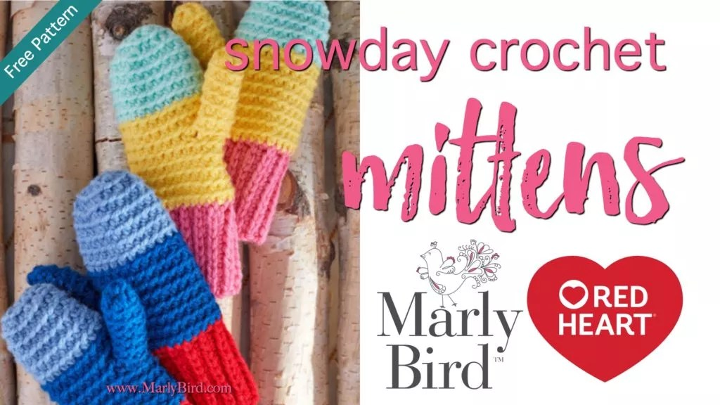 Video Tutorial-How to Crochet the Snowday Crochet Mittens