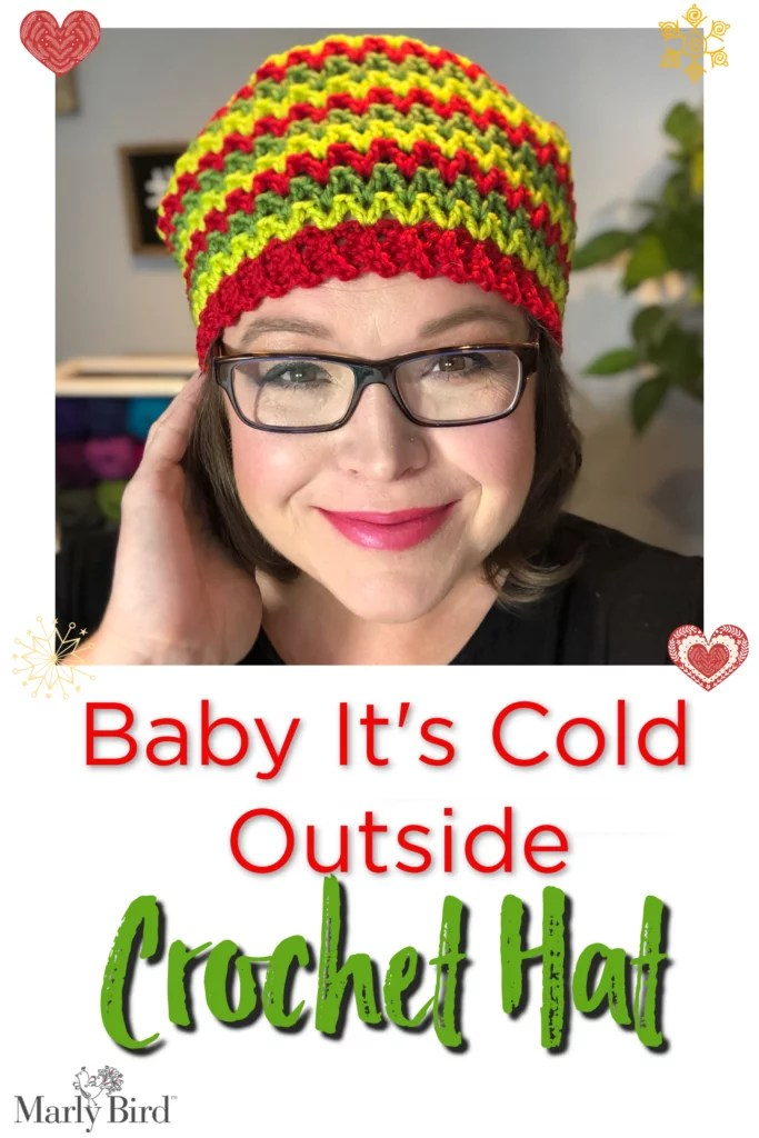 Baby It's Cold Outside Winter Crochet Hat made with 100% washable merino wool by Marly Bird. Easy beginner crochet hat pattern.