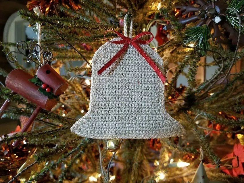 Crochet Gift Card Holder-Bell Ornament by Highland Hickory Designs