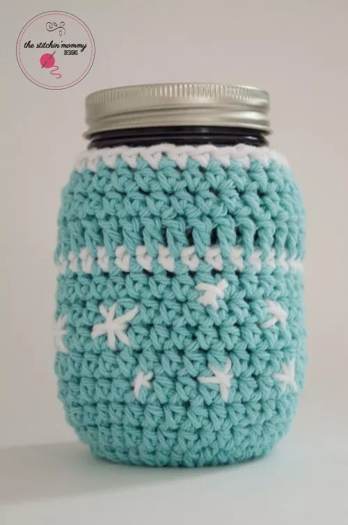 FREE Crochet Frosty Snowflake Jar Cozy designed by The Stitchin' Mommy
