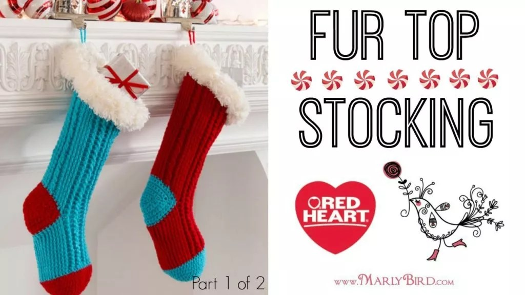 Video Tutorial-How to make the Crochet Fur Top Christmas Stockings