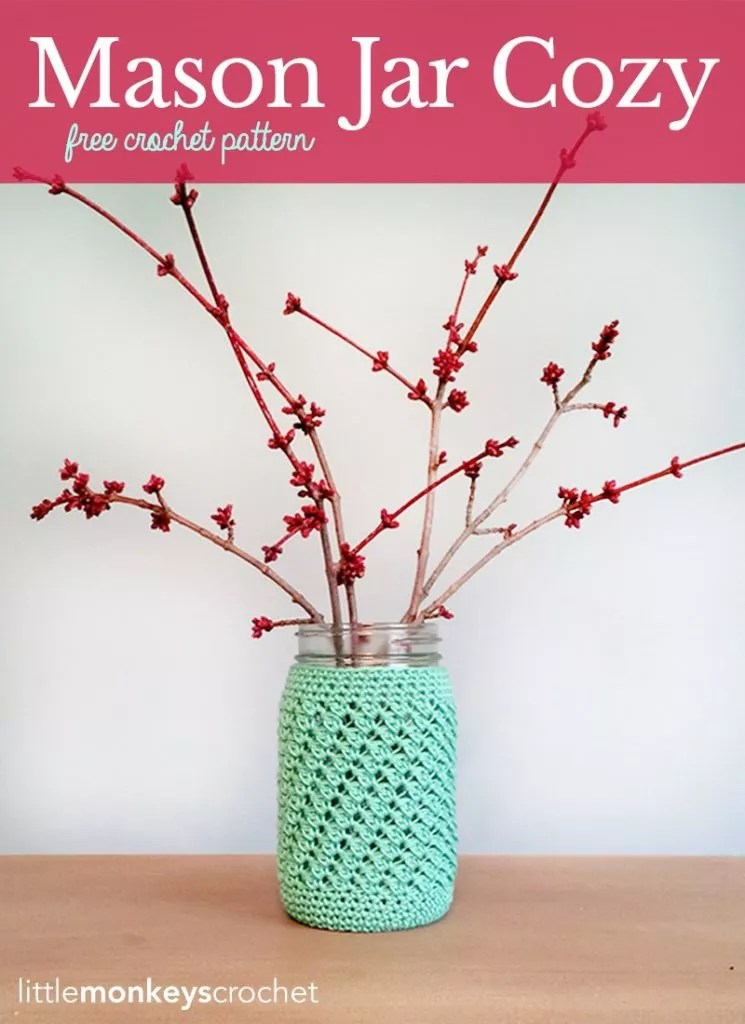 FREE Crochet Mason Jar Cozy Designed by Little Monkeys Crochet