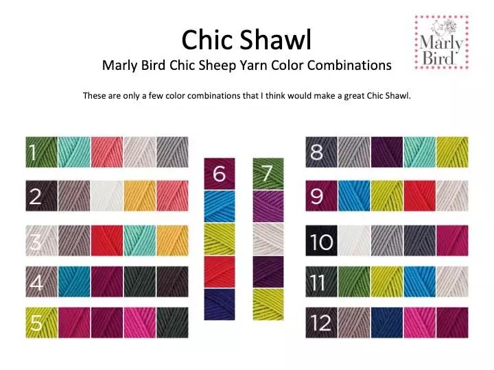 Chic Sheep by Marly Bird™ color combinations for the Chic Shawl-a crochet skill building class with Annie's