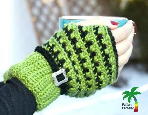 Crochet Fingerless Gloves by Pattern Paradise-X-Stitch Challenge Fingerless Gloves
