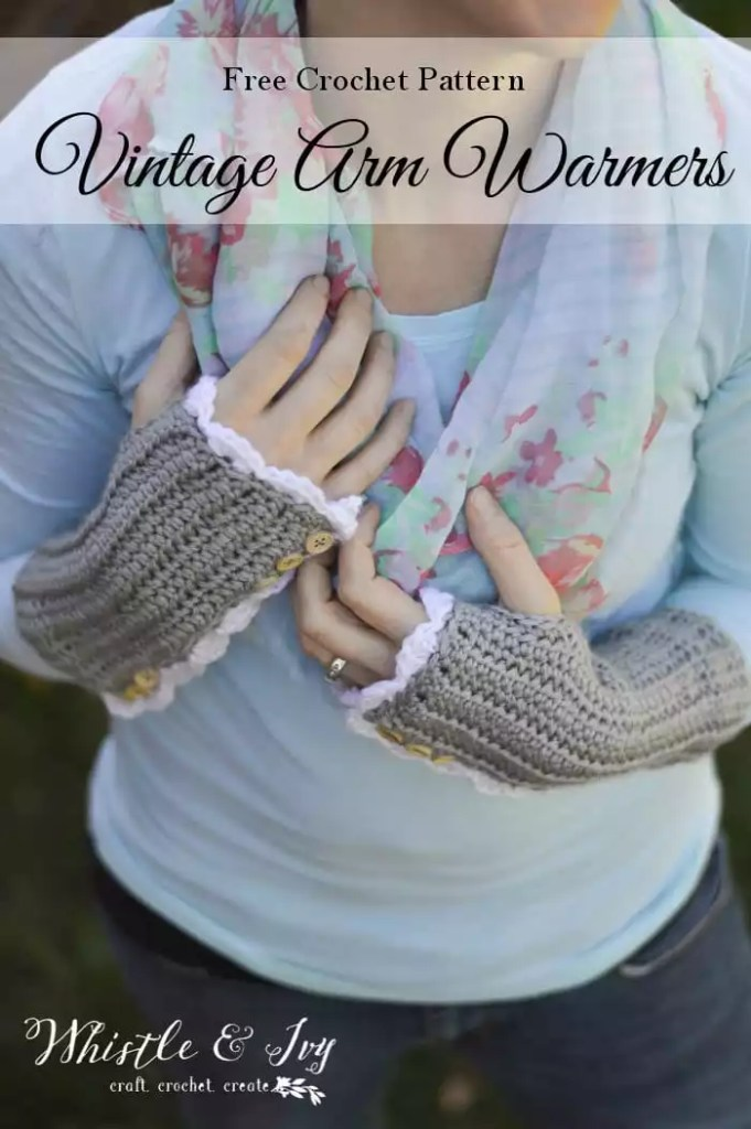 Vintage Arm Warmers Designed by Whistle and Ivy-FREE Crochet Fingerless Mitts Pattern