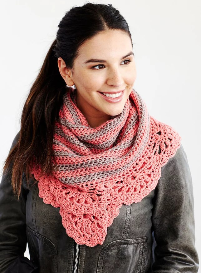 FREE Crochet Chic and Strong Crescent Shawl-Made in Pantone color of the year Living Coral