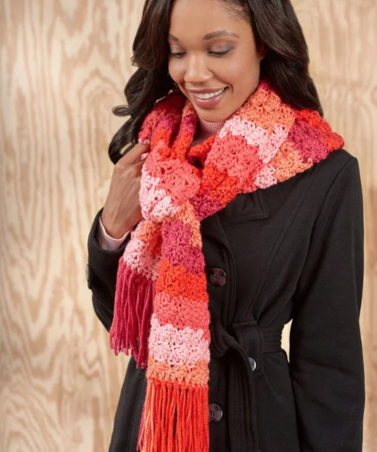 FREE Crochet Snazzy Stripe Scarf-Made with Pantone color of the year Living Coral
