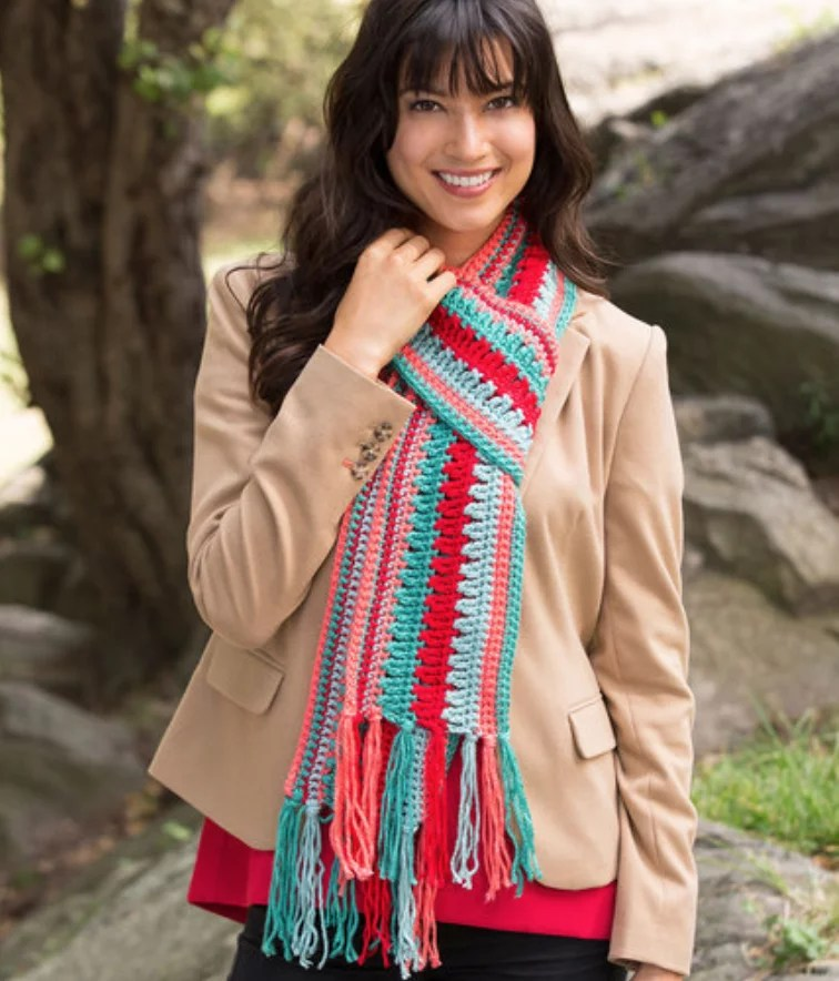 FREE Crochet Bright Stripes Scarf-Pantone color of the year Living Coral