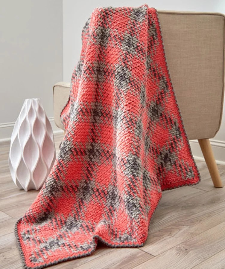 FREE Crochet Planned Pooling Argyle Throw-Pantone color of the year Living Coral