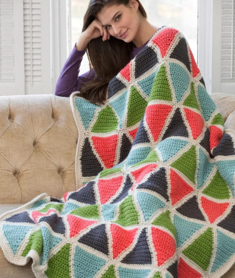 FREE Crochet Colorful Triangle Throw-Pantone color of the year Living Coral