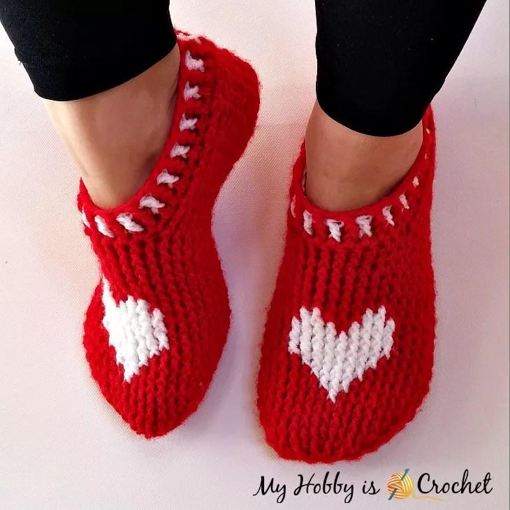FREE Crochet Valentine Slippers by My Hobby is Crochet