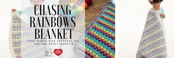 FREE Crochet Blanket pattern by Marly Bird-Chasing Rainbows Blanket