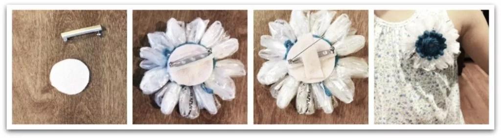 Crochet Plarn Flower Pin