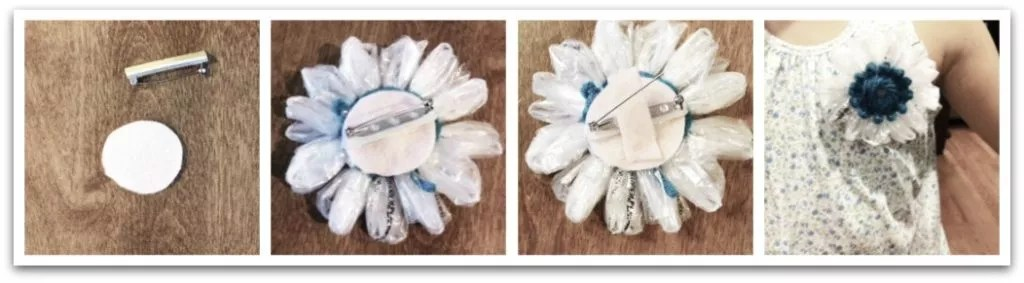 Crochet Plarn Flower Pin