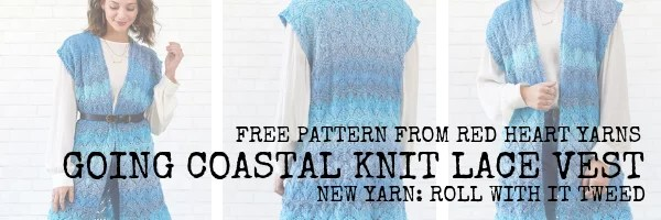 FREE Knitting Pattern from Red Heart Yarns-Going Coastal Knit Lace Vest