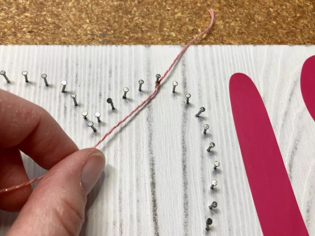 Mother's Day Yarn Project-Mother's Day String Art-Starting String Art