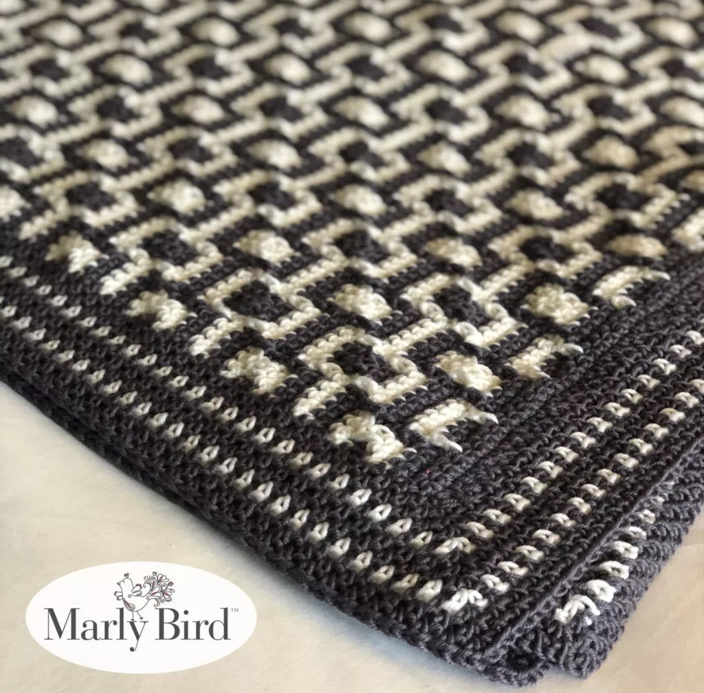 Chic Modern Mosaic Blocks Throw  Free Crochet Pattern by Marly Bird