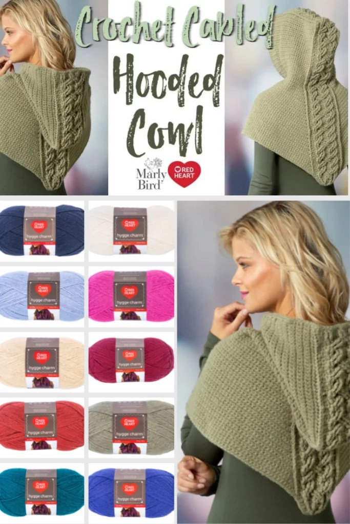 Download the FREE Crochet Cable Hooded Cowl pattern from Red Heart