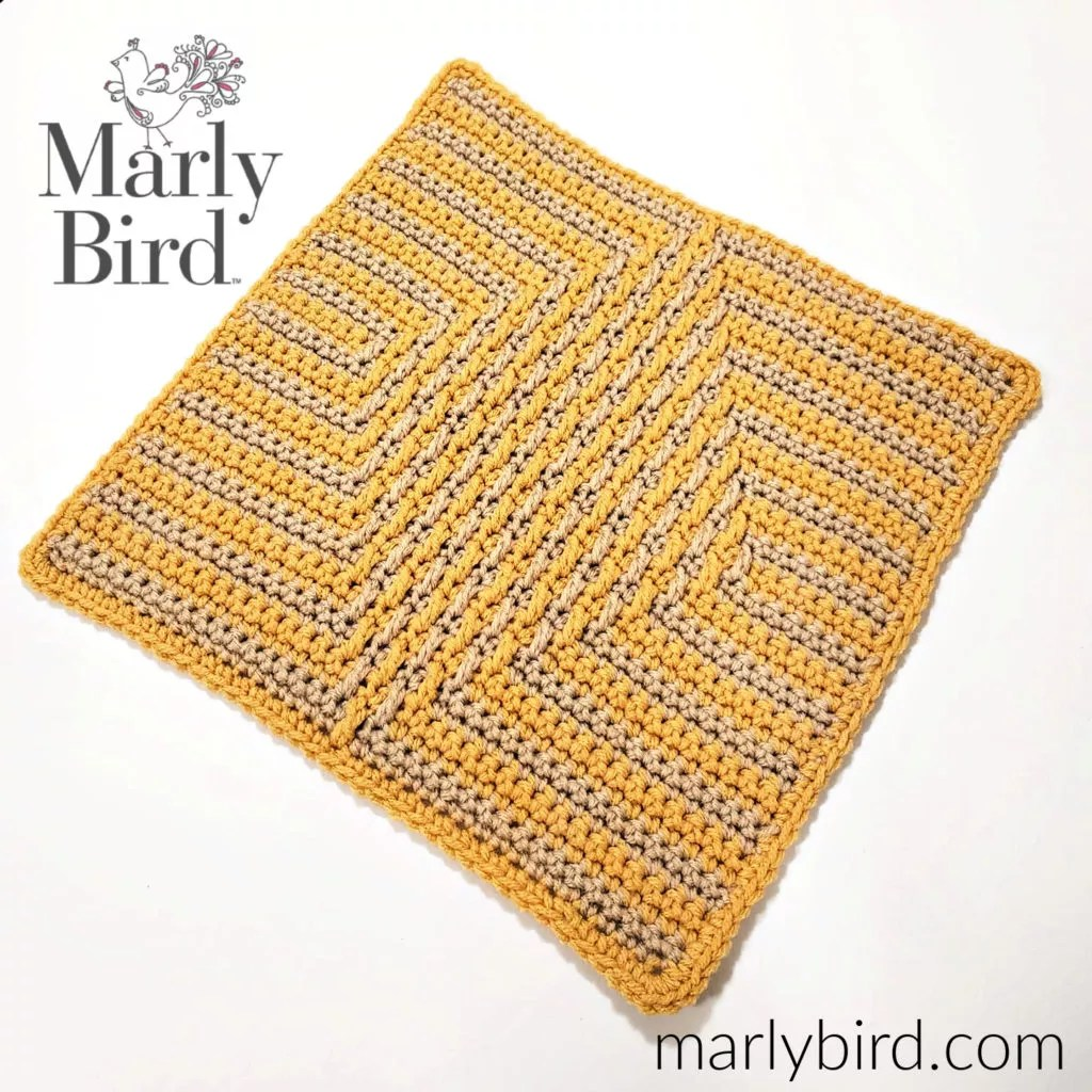 Free Crochet Pattern Diamond Mosaic Crochet Square by Marly Bird