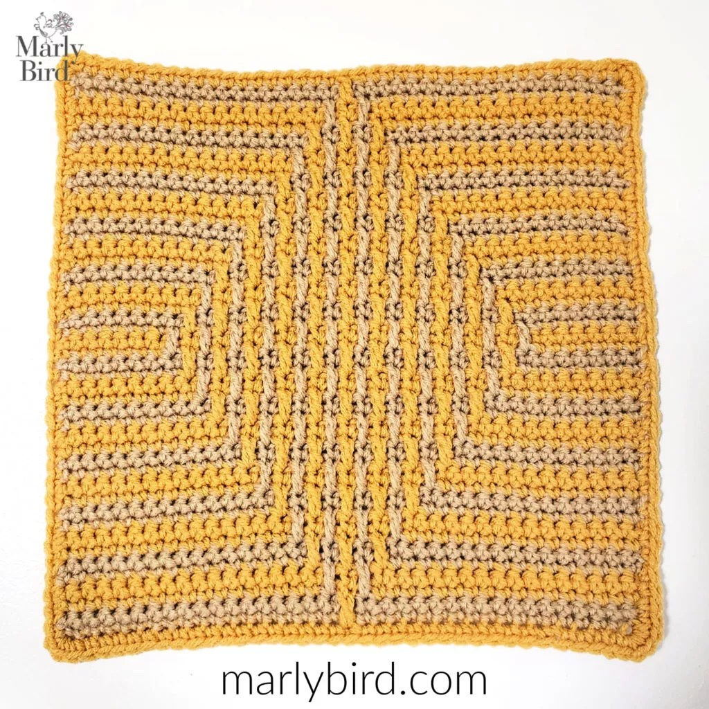 Free Crochet Pattern Diamond Mosaic Crochet Square by Marly Bird