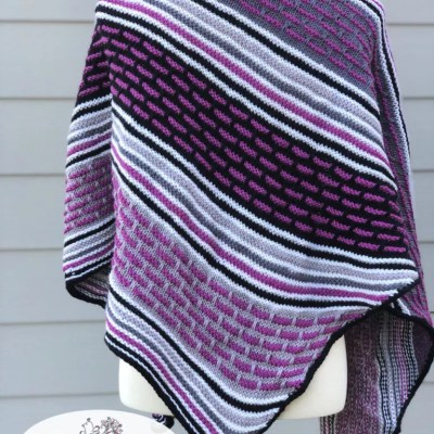 Knit Crescent Shawl with Box Mosaic Stitches