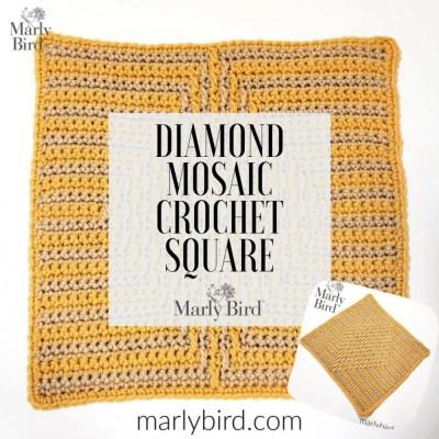 12″ Crochet Square- Diamond Mosaic Crochet Square